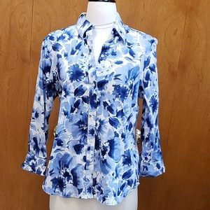 Chaps Blue Flowered  Button-Down Shirt LIKE NEW!